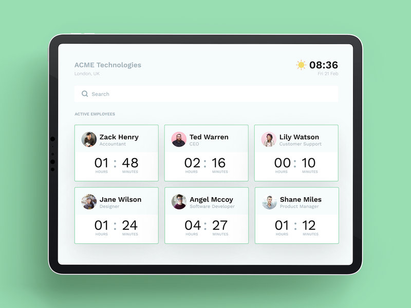 Employee Time Tracker employees dashboard management app design figma tracker time time tracker ipad ui design ui