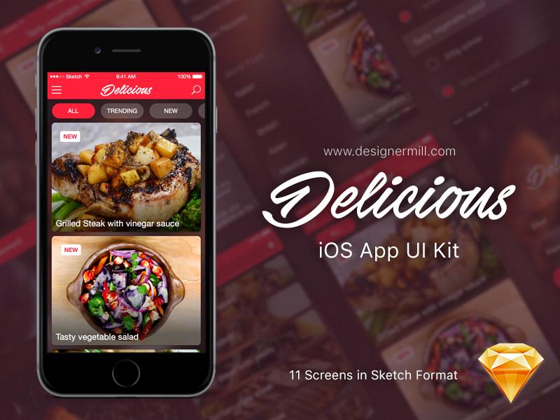 Delicious – Free Sketch UI Kit sketchapp download ui kit user interface app food ui sketch freebie free ios apple