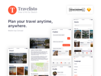 Travelisto ui kit for sketch presentation