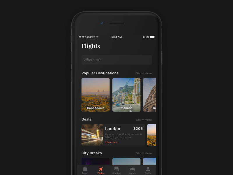 Travelisto UI Kit - Dark freebie sketch ios 11 ui filter ios iphone search free travel list app