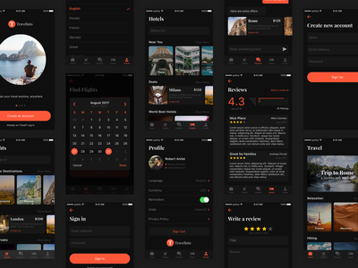 Travelisto UI Kit - Dark Release app free freebie travelisto kit travel trip mobile sketch ui ios gif