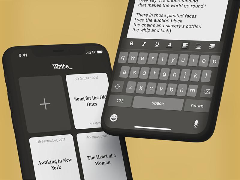Write - Main Screen / Writing flat ux writing app interface text app design sketch login ios 11 iphone ui free app