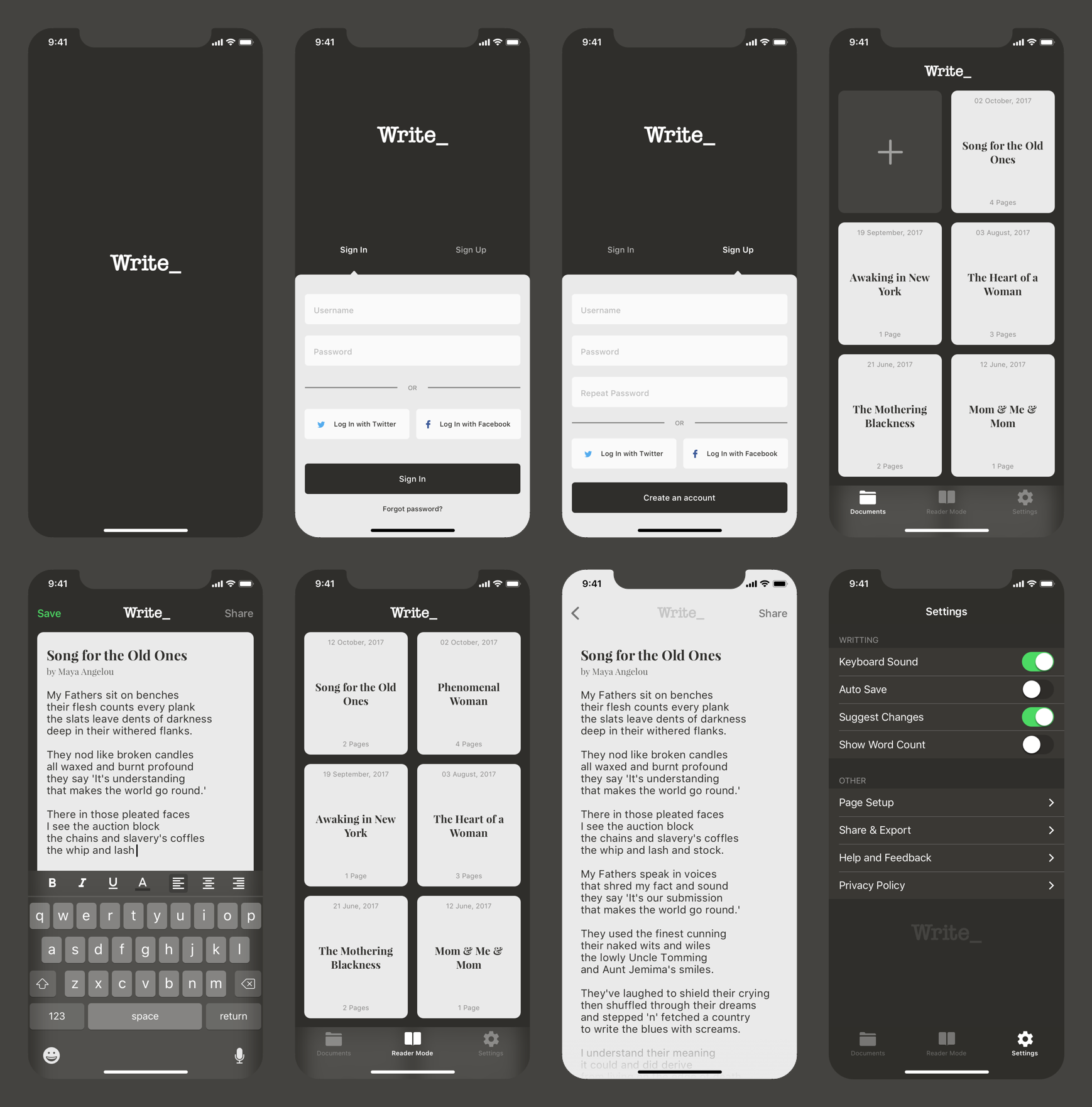 Write all screens preview