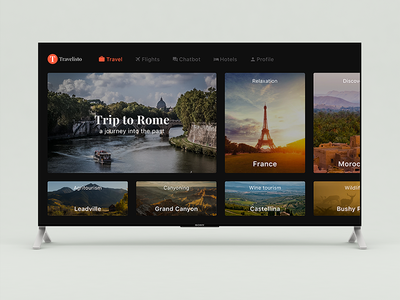 Travelisto for Apple TV apple tv list travel free search tv ios filter ui ios 11 sketch freebie
