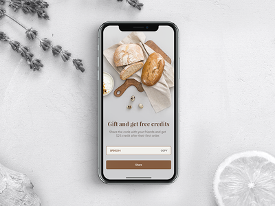 Refer A Friend Screen design sketch free iphone x ui ux code invite gift refer app iphone