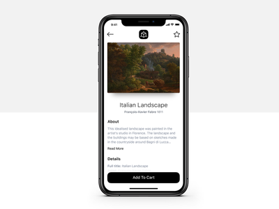 Painting Details iphone x product description painting ar art freebie app mobile iphone app design ux ios sketch ui