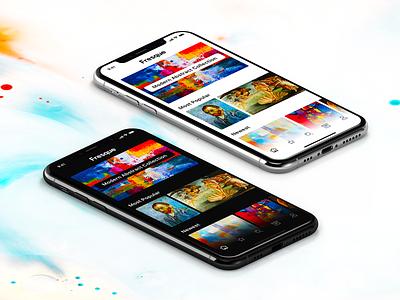 Fresque - Light & Dark Modes ui mobile dark light sketch iphone ios12 ios freebie free app design dark mode