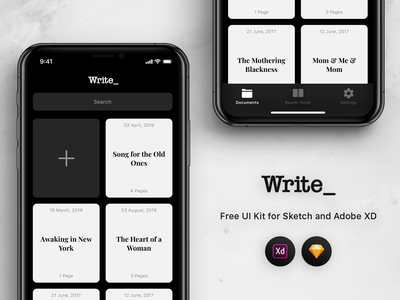 Write - Free UI Kit for Sketch and Adobe XD iphone ios 12 writing text free freebie kit write mobile adobe xd sketch ui ios