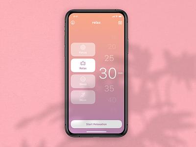 Relax - Concept ux ui xd sketch mobile iphone ios free design relax app design app