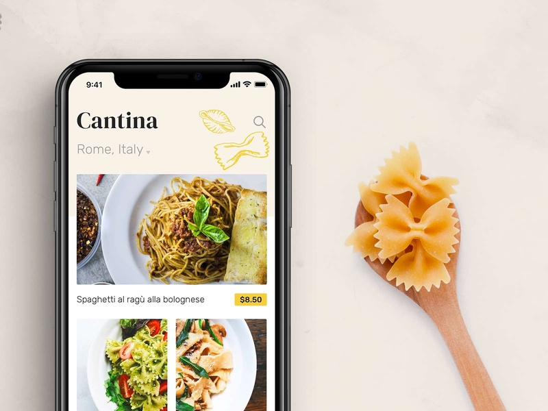 Cantina xd sketch mobile free app app design food italian restaurant ux ui ios iphone