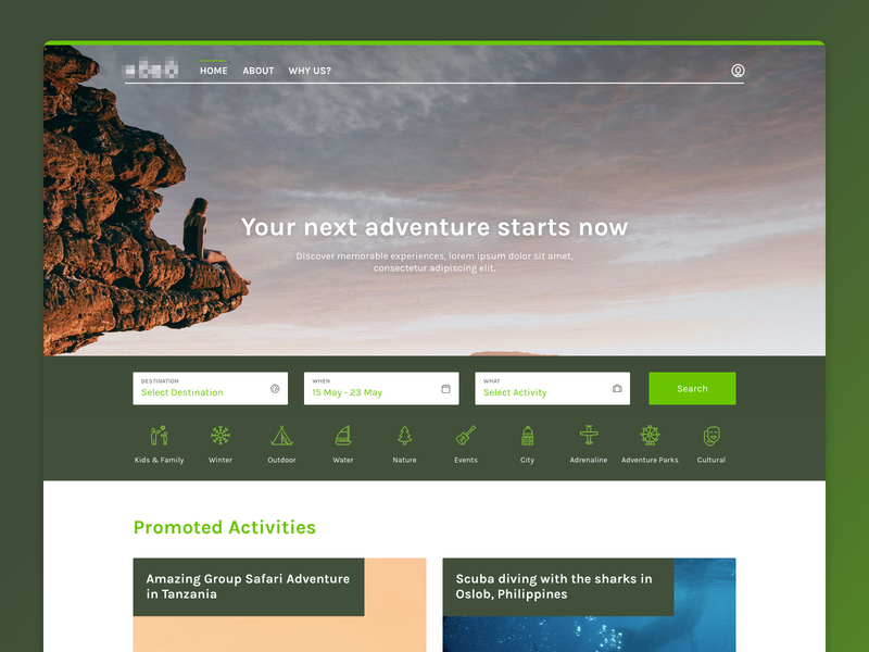 Adventure Landing Page activity page web design adventure design website webdesign landing page travel