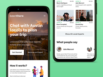 Redesign of BeenThere - Travel Planning App app design responsive design web design landing page marketing site experts travel app website responsive sketch