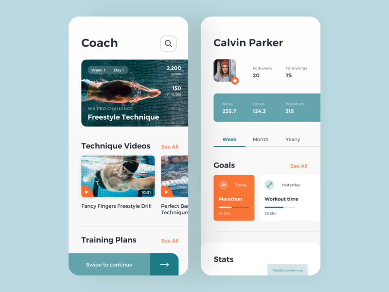 Swimming Coach App workout user interface user experience ui training swimming sport fitness exercises health coach