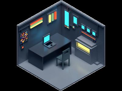 Isometric Laboratory isometric room computer modelling 4d cinema4d voxel 3d