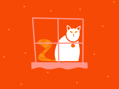 The displeased feline, Caine modernist minimalist flat design character vector design procreate cats window cat retro illustration