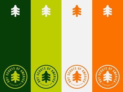 Scout Color Palette identity stamp orange green tree lockup camp badge pallette color scout boy scouts branding logo icon graphic design minimal illustration design