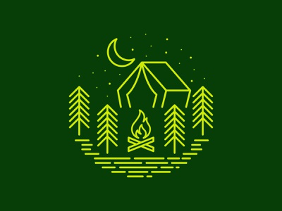 Camp Scene boy scouts scouts logo lines graphic design illustration design tent moon tree green badge line art campfire camping camp monoline