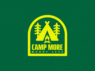 Camp More, Worry Less shapes geometic clean bold minimal thick lines campfire tent badge logo fire camping camp scene illustration design