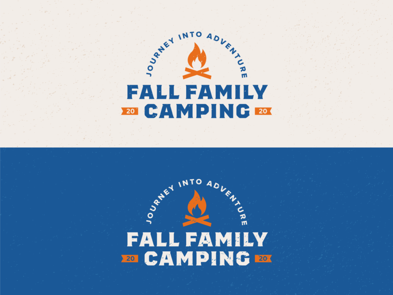 Fall Family Camping Logo icon logo design scouts boyscouts adventure badge lockup fall family camping campfire branding identity bold logo minimal illustration