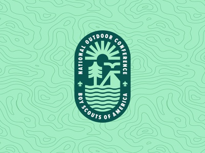 National Outdoor Conference Logo outdoor adventure identity design boy scouts branding illustration vector thick lines bird trees water sun camping badge lockup logo