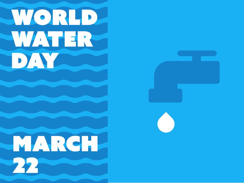 World Water Day modernism modernist modern design vector drip faucet waterdrop blues blue water minimal illustration