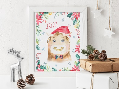 Christmas Bull Character Creator winter clothes bull in hat greeting card watercolor illustration 2021 bull new year christmas card christmas watercolor bull