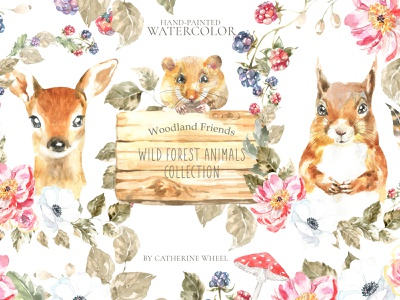 Watercolor Animals Woodland Friends boho animals woodland watercolor easter spring cute animal raccoon squirrel woodland clipart wall art nursery decor greeting card watercolor illustration forest easter bunny baby shower animal deer illustration clipart illustration woodland animals watercolor