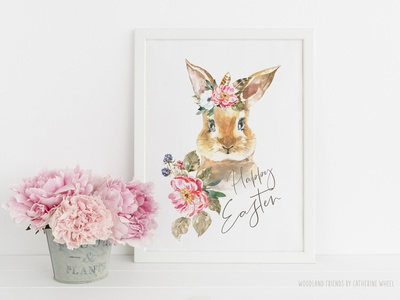 Watercolor Animals Woodland Friends Easter Bunny Wall art poster