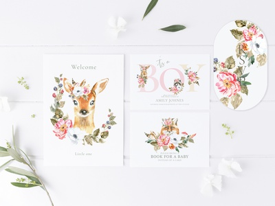 Woodland Animals Baby shower, its a boy invitation,greeting car rsvp card baby shower ideas printable creative market baby animals stationery design cute character cute animal easter vintage illustration nursery decor baby shower design stag woodland animal deer illustration watercolor deer baby shower