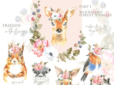 Woodland forest Animals clipart, watercolor illustration, deer nursery greeting card clipart graphics deer head vintage animal deer illustration bird rabbit easter bunny otter squirrel stag ideas baby shower illustration watercolor deer