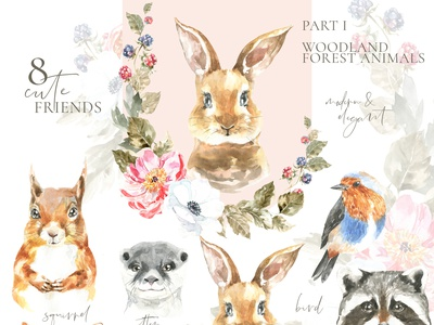 Woodland forest Animals clipart, watercolor illustration, deer bunny clipart ideas kids baby shower wall art nursery animal illustration forest otter squirrel easter bunny easter graphics design animal card vintage illustration watercolor