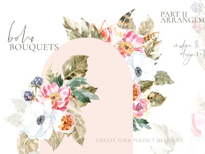 Woodland animals flowers, boho flower, peony forest berry vintage cliassic illustration watercolor floral design chic moder boho clipart wreath frame berry rose boho flowers bouquets flower floral peony animal woodland boho