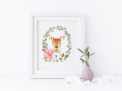 Woodland forest Animals clipart, watercolor illustration, deer peony card watercolor illustration stationary stationery invitation greeting card baby shower pet animal woodland poster design stag deer portrait printable nursery poster wall art