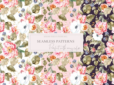 Woodland animals seamless pattern, boho vintage classic pattern morris renaissance roses pattern design bohemian vintage design classic chic peony pattern design vintage graphics animal illustration watercolor