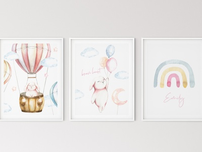 """Over The Sky"" Cute Watercolor Bunnies illustrations Nursery art watercolor"