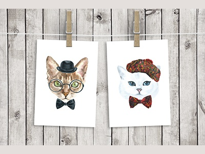 Cat Character Creator freebie free character portrait poster boho hand-painted illustration hipster animal watercolor cat