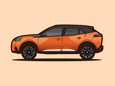 peugeot 2008 orange adobe illustrator illustration car 2008 peugeot