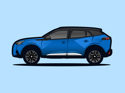 peugeot 2008 blue adobe illustrator illustration car 2008 peugeot