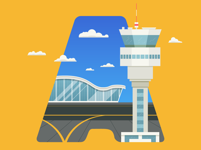 A Letter clouds tower airport letter typography illustration a 36days-a 36daysoftype