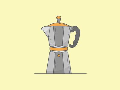 Moka pot coffee moka illustration vector yellow alternativecoffee