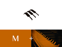 Piano keys with letter M