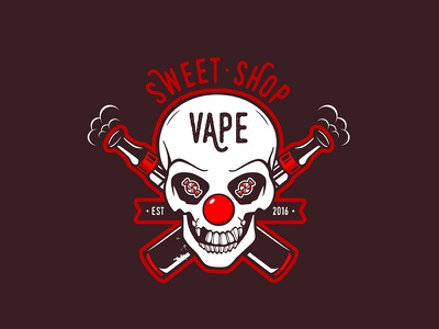 Sweet Vape Shop evil smile cigarette candy character design clown smoke skull shop vape mascot