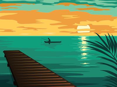 Sunset Fisherman vector ocean clouds fisherman fishing sea sunset boat
