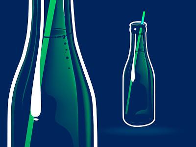 Sparkling Bottle beverage drink water line glare design illustration icon vector bubbles sparkling bottle