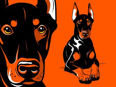 Doberman pet doberman dog cartoon animal design mascot character illustration vector