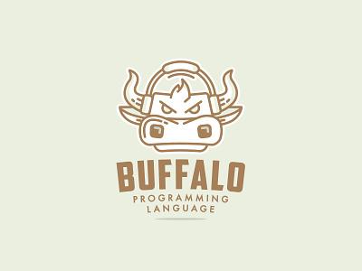 Buffalo Programming pixelinstudio cow bull animal cartoon icon design branding mascot character logo illustration vector