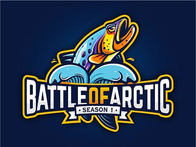 Battle Of Arctic arctic battle salmon fish typography id cartoon animal icon design branding mascot logo character illustration vector