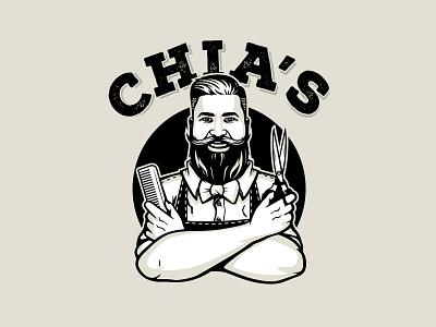 Chia's Barbershop hipster scissors gentleman mustache barbershop man typography cartoon design branding mascot logo character illustration vector