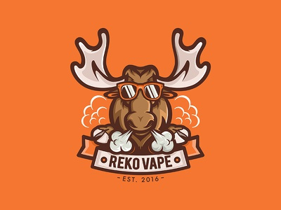 Reko Vape Shop shop vape smoke deer moose lettering animal cartoon design branding mascot logo character illustration vector
