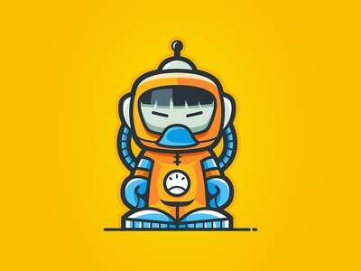 Spaceman stock sale astronaut spaceman ui ux round icon design mascot character logo illustration vector